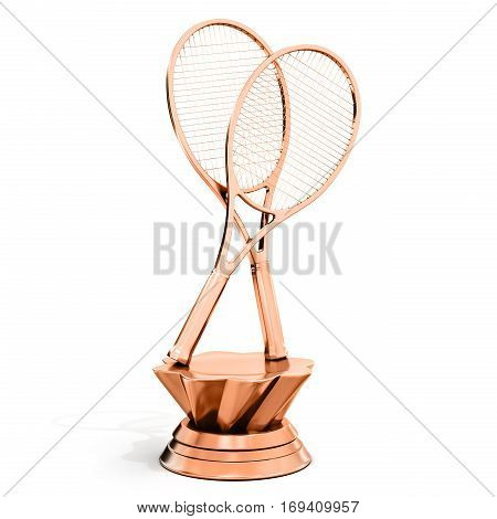 Bronze Trophy With Tennis Rackets
