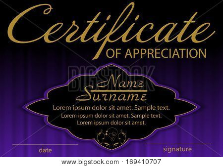 Certificate of appreciation template. Elegant background. Winning the competition. Reward. Vector illustration.