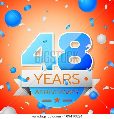 Forty eight years anniversary celebration on orange background. Anniversary ribbon