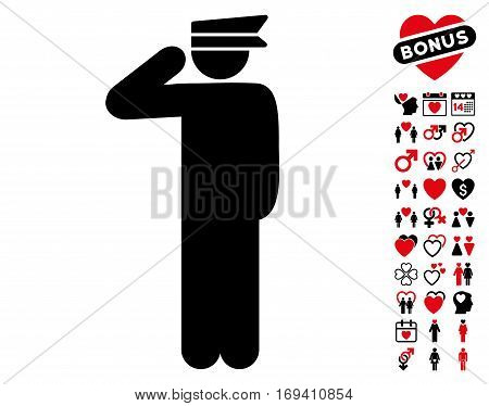 Police Officer icon with bonus valentine symbols. Vector illustration style is flat iconic intensive red and black symbols on white background.