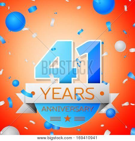 Forty one years anniversary celebration on orange background. Anniversary ribbon