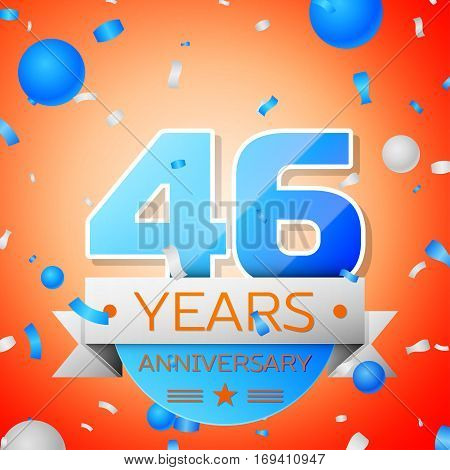 Forty six years anniversary celebration on orange background. Anniversary ribbon