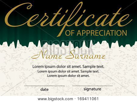Certificate of appreciation template. Winning the competition. Reward. Vector illustration.
