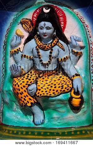 Shiva's image on the altar at the Hindu temple Goa