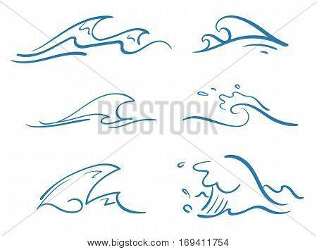 vector set of various simple stylized pinstripe ocean waves