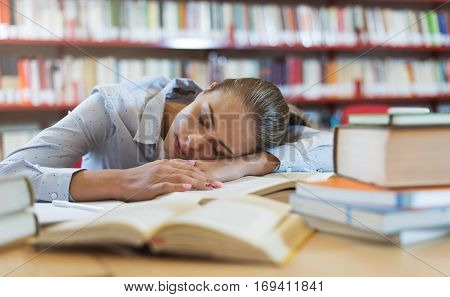 Girl Sleeping At The Library