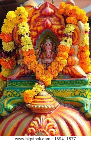 god Ganesha on the altar at Hindu temple Goa
