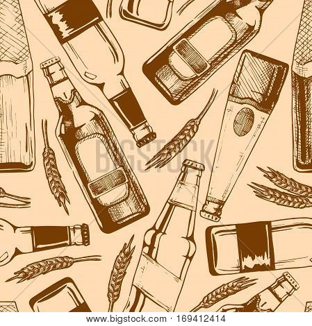 Vector seamless pattern with different beer bottles. illustration background in ink hand drawn style.