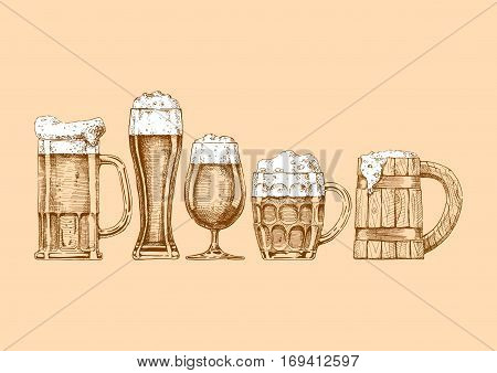 Vector set of beer glasses and mugs in ink hand drawn style.