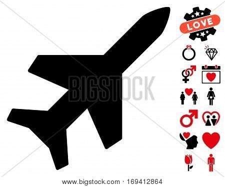 Aeroplane icon with bonus lovely pictures. Vector illustration style is flat iconic intensive red and black symbols on white background.