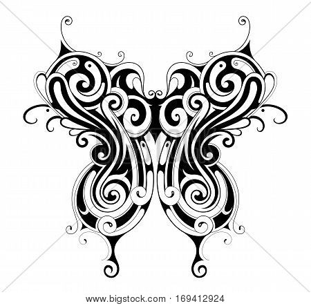 Decorative tribal style tattoo shaped as butterfly
