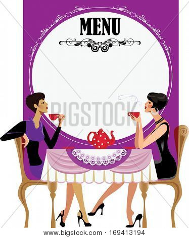 menu for tea party, two girls drink tea