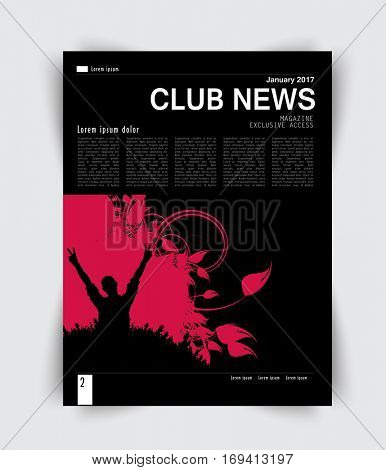 Layout design for music magazine, vector