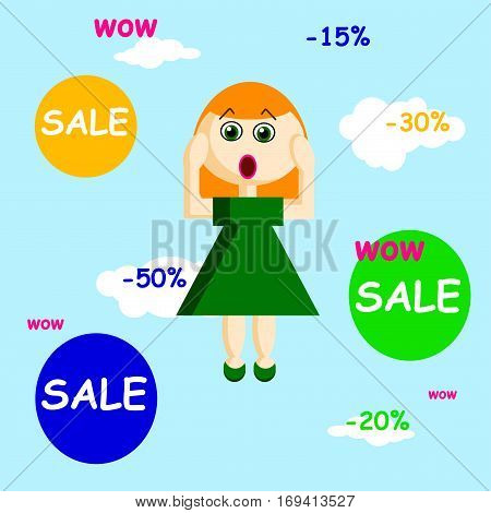 Vector girl in flat style flying in the sky with bubbles of sale and persent reduce