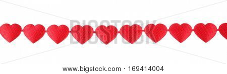 Decoration ribbon hanging row of red hearts of love