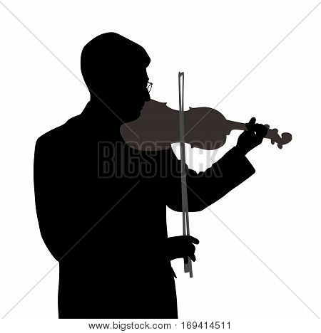 Male violinist isolated on white background. EPS file available.