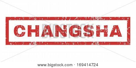 Changsha text rubber seal stamp watermark. Caption inside rectangular banner with grunge design and unclean texture. Horizontal vector red ink sticker on a white background.