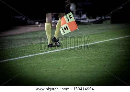 VALENCIA, SPAIN - JANUARY 3: Linesman during King Cup soccer match between Valencia CF and Celta de Vigo at Mestalla Stadium on January 3, 2017 in Valencia, Spain