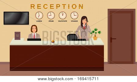 Hotel reception service. Business office desk concept. Two women receptionists. Flat vector illustration.