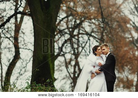 Fiance Daydreams Holding Bride In His Tender Hugs Somewhere In A Cold Park