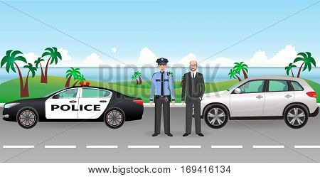 Policeman and police patrol on a road with stopped car and it driver. Police and civil men characters with nature background. Flat style vector illustration.