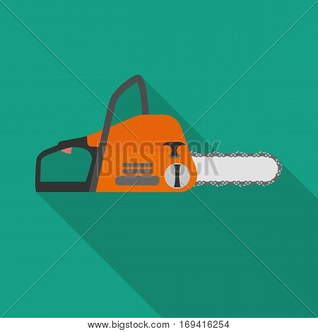 chainsaw flat icon with long shadow on green background