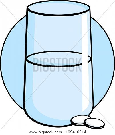 glass of water and medicine tablets