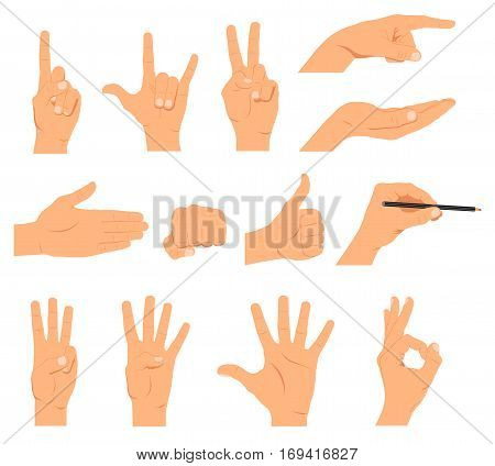 Set of hands different gestures emotions and signs - stock vector