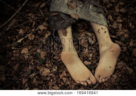Dead Body Feet In Leaves