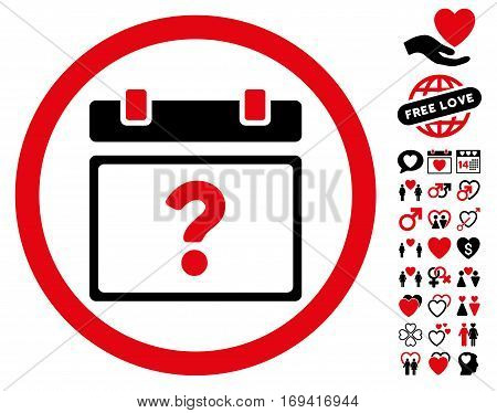 Unknown Date pictograph with bonus decoration graphic icons. Vector illustration style is flat rounded iconic intensive red and black symbols on white background.