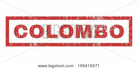 Colombo text rubber seal stamp watermark. Caption inside rectangular shape with grunge design and dirty texture. Horizontal vector red ink sticker on a white background.