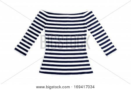 Women's Nautical Striped Top Isolated on White