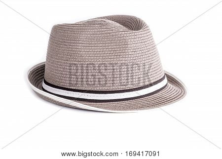 Men's Taupe Straw Hat Isolated on White