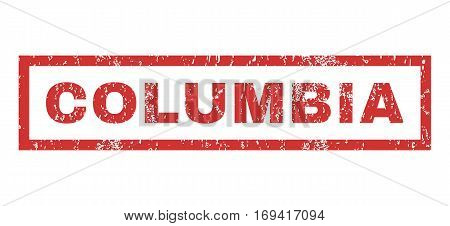 Columbia text rubber seal stamp watermark. Caption inside rectangular shape with grunge design and dust texture. Horizontal vector red ink emblem on a white background.