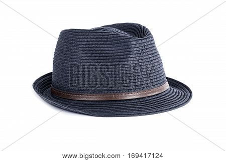 Navy Blue Straw Hat Isolated on White