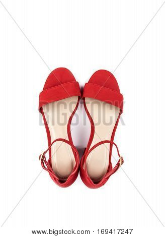 Women's Red Suede Leather Sandals Isolated on White