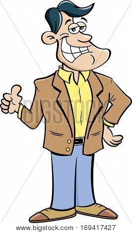 Cartoon illustration of a smiling man giving thumbs up.