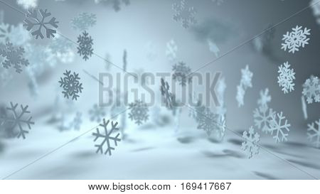 Christmas background with dainty falling snowflakes in a misty atmospheric winter landscape in a wide angle panorama.  3d Rendering