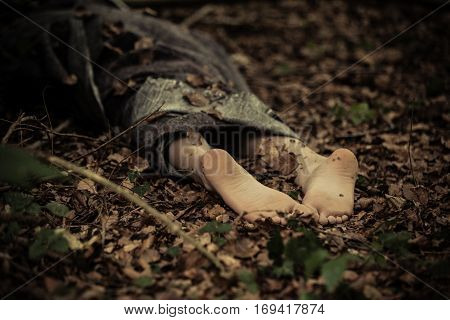 Dead Body Feet On The Ground
