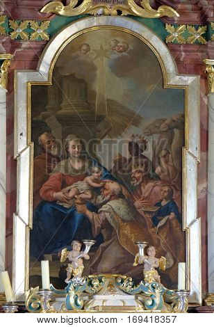 KRASIC, CROATIA - JUNE 11: Nativity Scene, Adoration of the Magi altarpiece in parish church of the Holy Trinity in Krasic, Croatia on June 11, 2016