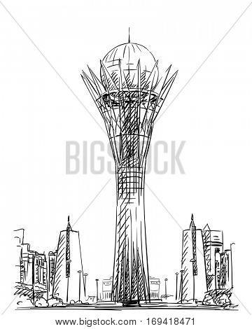January 04, 2017: Bayterek Tower in Astana. Symbol of Kazakhstan, Hand drawn vector illustration.