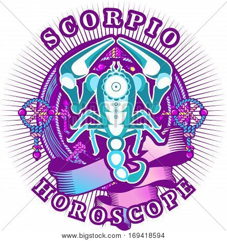 Vector illustration of magic horoscope sign Scorpio style of the 60s bright hippie art isolated on white background