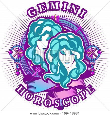 Vector illustration of magic horoscope sign Gemini style of the 60s bright hippie art isolated on white background