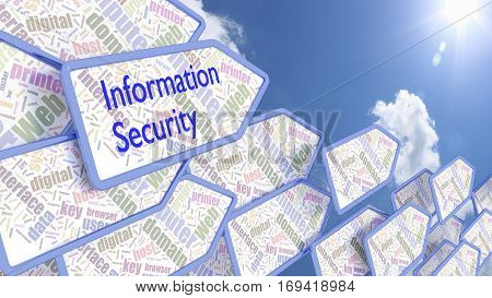 Wordcloud arrows with the word information security in front of a cloudy blue sky pointing towards the sun 3D illustration
