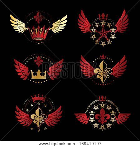 Ancient Crowns and Military Stars emblems set. Heraldic vector design elements collection. Retro style label heraldry logo.