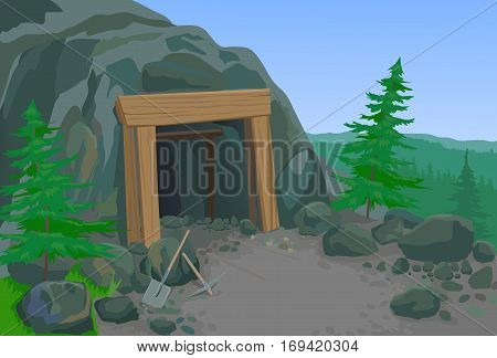 Old abandoned mine with summer landscape vector illustration