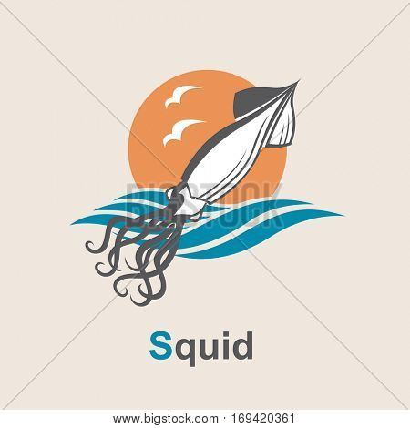 Image of squid and sea waves. Vector illustration
