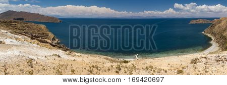Panorama of Lake Titicaca as seen from Isla del Sol Bolivia