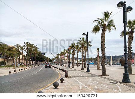 Road along the promenade of Cartagena city. Spain