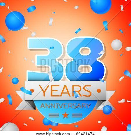 Thirty eight years anniversary celebration on orange background. Anniversary ribbon